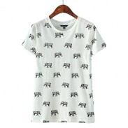 Cute Elephant Pattern Short-sleeve Cotton T-shirt