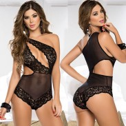 Sexy Black Hollow Mesh Lace Irregular Conjoined Lady Intimate Lingerie