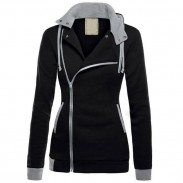 Fashion Splicing Turn-down Collar CoatHoodies Overcoat Winter Warm Autumn Women's Jacket Sweater