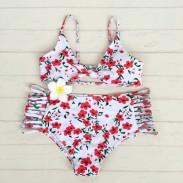 Lovely Floral Printed Bikini Multi Rope Swimsuit High Waist Summer Bathingsuit