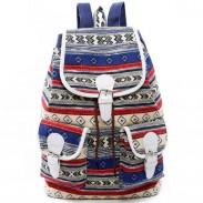 Folk Girls Canvas Geometric Totem Two Pockets Belt Flap Drawstring School Backpack Travel Backpack