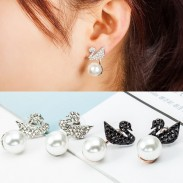 Fashion Swan Hanging Pearl Ear Drop Shining Animal Earring Studs