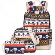 Punk School Skull Printing Rucksack Leisure Totem Travel Canvas Backpack