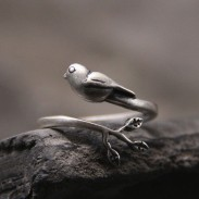 Retro Original Silver Bird Tree Leaves Animal Open Ring