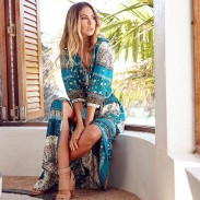 Women's Adjustable Half Sleeve Bohemian Style Printing Single-breasted Full-length Dress