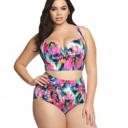 Sexy High Waist Swimsuit Large Size Colorful Lattice Women's Bikini