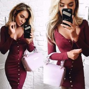 Sexy Slim Breasted Long Sleeves Dress Backing Skirt