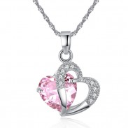 Romantic Love Zircon Heart Crystal Pendant Women's Necklace