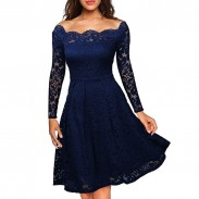 Elegant Sexy Lace Boat Neck Crochet Strapless Dress Party Dress