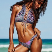 Sexy Swimsuit Printed Split Multi-rope Bandage Bikini