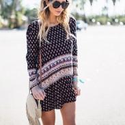 Women's Round Neck Long Sleeves Retro Leisure Style Pringting Skirt