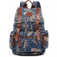 Retro Outdoor Backpacks Climbing Rucksack Large PU Belt Canvas School Backpack