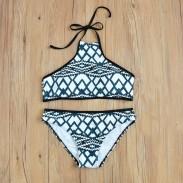 Printing Bikini Irregular lattice Graph Split Swimsuit