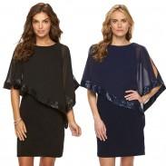 Fashion Chiffon Splicing Sequins Shawl Women's Dress