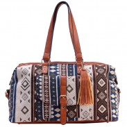 Folk Geometric Patterns Printing Splicing PU Belt Large Canvas Travel Handbag Tassel Shoulder Bag