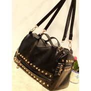 Vintage Black Rivets zipper Handbag&Shoulder Bag