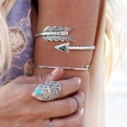 Women Retro Bangle Swirl Spiral Armband Arm Cuff Armlet Upper Stone Arrow Bracelet