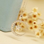 Fashion Moon Star Crystal Pendant Rhinestone Women Necklace