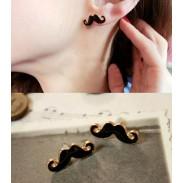 Black Funny Mustache Earring Studs