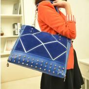 Fashion Rivet Splice Scrub Chain Handbag & Shoulder bag