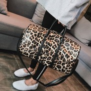 Fashion Leopard Cylindrical Messenger Bag PU Handbag Drum Shoulder Bag