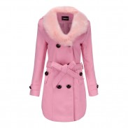 Elegant Hairy Fur Collar Double Button High Collar Winter Warm Women Coat