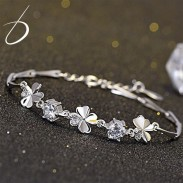 Sweet Four-leaf Clover Amethyst Girl Friend Gift Flower Silver Women Bracelet