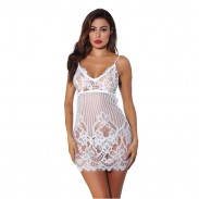 Sexy Hollow Intimate Sling Nightdress Pajamas Flower Lace Women Lingerie