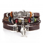 Retro Beaded Leather Multi-layer Alloy Owl Fish Woven Bracelet