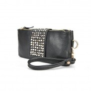 Elegant Black Rivet Zipper Long Clutch
