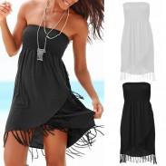 Fashion Knitted Slim Breast Wrap Strapless Tassel Summer Beach Dress