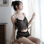 Sexy See-through Hollow Sling Transparent Bra Panty 2 Piece Set Vest Lace Underwear Intimate Lingerie