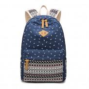 Folk Student School Bag Totem Trunk Stripe Large Canvas Backpack