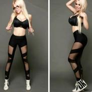 Sexy Girl's See Through Look Mesh Cross Bundling Stripe Sports Legging