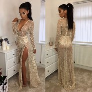 Sexy Women's V-neck Bead Tassels Beach Dress Sequin Long Prom Dress
