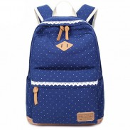 Fresh Wave Point Lace Large Capacity Dot Travel School Canvas Backpack
