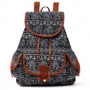 Folk Irregular Totem Geometric Patterns PU Elephant Printing 3 Pockets School Canvas Backpack