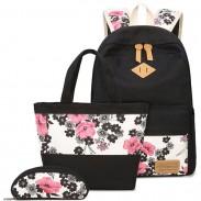 Folk Ink Wash Painting Pink Flowers Rose School Girl's Black Canvas Large Backpack