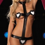 Sexy Women's Patent Leather G-sting Sets Hearts Lingerie