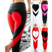 Sports Girl's Two Colors Heart Splicing Showing Raised Buttocks Style Yoga Skinny Legging