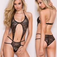 Sexy One-piece Bikini Women's Lace See Through Front Backless Braces Lingerie