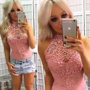 Sexy Lace Hollow Crochet Flower Sleeveless Body-con Women's Tops