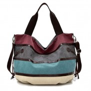 Leisure Colorful Rainbow Large Stripe Canvas Shopping Handbag Shoulder Bag