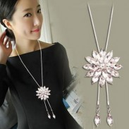Fashion Crystal Rhinestone Stratified Flower Pendant Necklace Sweater Chain Necklace
