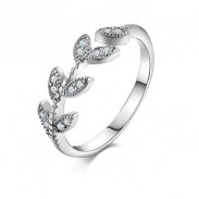 Lovely Girl's Leaf Vivid Ring Diamond-bordered Leaves Silver Open Ring