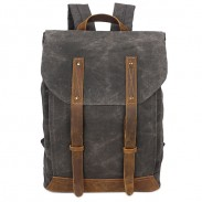Vintage School Waterproof Canvas Splicing Leather Belt Flap Retro Travel Backpack