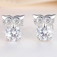 Fashion Cute Owl Women Blinking Crystal Diamond-bordered Silver Animal Earring Studs