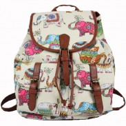 Folk Rose Elephant Stripe Floral College Rucksack Leisure Flower Two Pockets  Backpacks