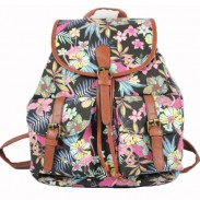 Unique Geometric Patterns Flowers Printing Floral Two Pockets Bucket Canvas Backpack