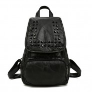 Punk Black Rivet College Student Leisure School Backpack